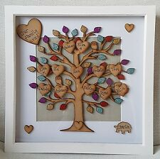 Large Personalised Family Tree picture box frame gift Mothers Day/ Birthday