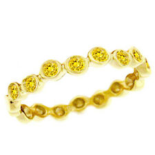 Handmade in USA 14k Yellow Gold Yellow Sapphire Stackable Ring Size 6 Trendy NEW
