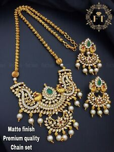 Pa p142 Indian Bollywood Fashion Party wear Jewelry Temple  Pendant Earring Set in Pearls Mala