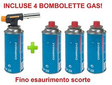 CANNELLO MINI BRUCIATORE SALDATORE FIAMMA OSSIDRICA + 4 CARTUCCE GAS CAMPINGAZ