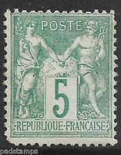 France 1876 5c green P&C type i N under B mint lightly hinged SG 215