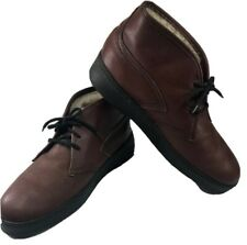 Vintage Bates Floaters Ankle Boots Brown Leather Chukka Lace Wool Lined Mens 10M