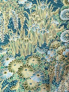 Green Gold Floral Hoffman Fabric Kimono Collection Style #C937 100% Cotton Quilt