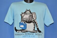 vtg 80s B Kliban Fat Cat Hawaiian Humane Society Adopt Crazy Shirts t-shirt M