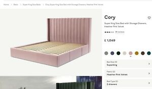 MADE.COM Cory Super king size Headboard only in Heather Pink Velvet