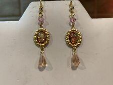 Sale-New Item-Handcrafted Vintage Crystal Pink Fire Opal Drop Earrings.g