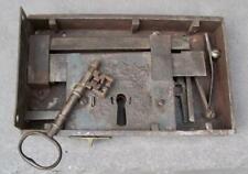 """Vintage Large Black Metal 10"""" X 6"""" X 2"""" Door Lock Box and Skeleton Key"""