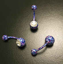 Paint Splatter Navel Belly Bar Ring Clear Gem Stone Funky Style