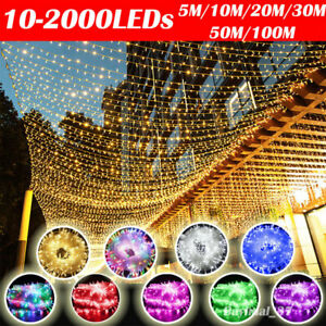 10-2000LEDs Fairy String Lights Mains Plug Waterproof Outdoor Christmas Wedding