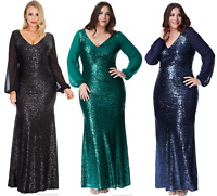 Goddiva Sequin Long Chiffon Sleeve Evening Maxi Dress Prom Party Ball Gown 16-26