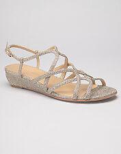 Stuart Weitzman NIB Turning Down Pale Gold Low Wedge Glitter Sandals Size 8.5 B