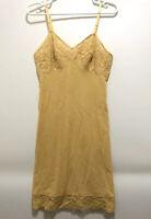 Vintage Vanity Fair Slip Dress Nightie Nylon Lace Top Dark Beige Size 34 S Sissy
