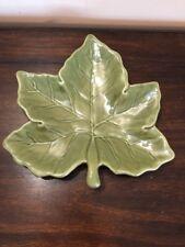 "Pottery Barn Harvest Leaf Decorative / Salad Plate Fall Maple Leaf 10"" Green"