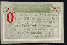 Unused 1909 Sheahan O Little Town of Bethlehem Phillips Brooks Vintage Postcard