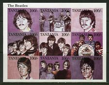 TANZANIA THE BEATLES  PROGRESSIVE COLOR PROOF SET OF SHEETS MINT NH
