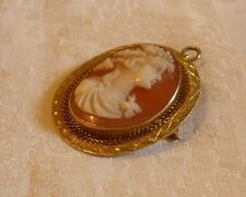 Antique Carved Shell Cameo High Relief 10K gold with Swivel Top