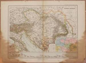 MAPPA AUSTRIA UNGHERIA HUNGARY BRAUNSCHWEIG PEUCKERT SERBIA ETNOGRAFIA 1893