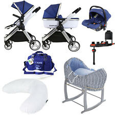 2018 iSAFE Marvel New Born Bundle Package - Navy Pram + Carrycot + Isofix Base