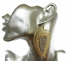 Sexy Sparkly Swirly Heart Design Dangle Drop Earrings Gold Tone Crystal SECONDS