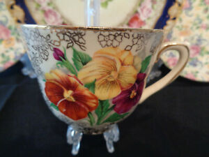 Beautifully Decorated Trio With Pansy Flowers, by HK Tunstall England