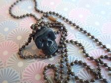 Halskette Totenkopf - schwarz Kette Kugelkette Männer Frauen Jade