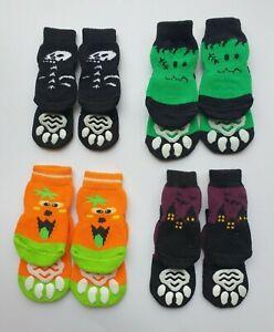 Set of 4 Halloween Dog Socks with Non Slip Grip Paw Pad Booties Fancy Dress