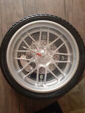 "10"" Tire Rim Wall Clock Man Cave Garage Shop Tire Gear Hands *No Battery Cover"