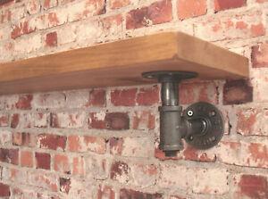 Industrial Steel Pipe Shelf Bracket Holder DIY 1 Pair Tee Nut Style