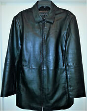 Exc. Nicole Miller Mens Full Zip Leather Jacket Coat in Black, Size M
