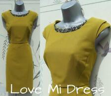 Principles - Ben de Lisi Fitted Green/Mustard Dress Sz  12 EU40