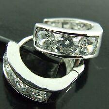 HOOP HUGGIE EARRINGS REAL 18K WHITE G/F GOLD GENUINE DIAMOND SIMULATED DESIGN