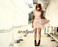 SunDress Ruffle Chiffon Floral Vintage rose Ribbon belt mini dress top Arafeel