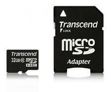 32GB Transcend microSDHC CL10 high-speed memory card with SD adapter
