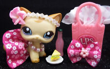 LITTLEST PET SHOP CUTE BROWN CURL KITTY #1024 BOW SKIRT HEADBAND ACCESSORIES