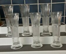 Vintage x 6 Clear Glass Bud Vases Boxed Wedding Occasion Tea Room Cafe #