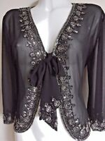 NEW WOMEN'S SEQUIN JACKET CROP BLACK SHRUG TOP CARDIGAN PARTY BLAZER SEQUINNED