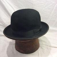 Black Bowler Men's Hat with Black Band Vintage -- Size 7 1/8
