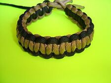 New Original Style Reversible 550 ParaCord Cobra Braided Bracelet Black & Coyote