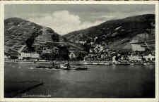 Rhein bei Assmannshausen Kohle-Dampfer Schiff ~1930 Verlag Hoursch & Bechstedt