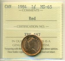 1984 Canada Small Cent, Red; ICCS MS-65