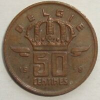 1958 BELGIUM 50 CENTIMES NICE WORLD COIN