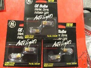 1816  GE-12 VOLT-CLEAR  BULB- DOME,INDICATOR-,MARKER -- LOT OF 6 = MADE IN USA==