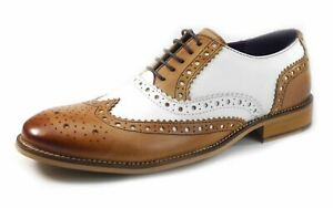 Mens Leather Brogue Lace Up Wingtip White Tan Black Two Tone Gatsby 1920 Shoes
