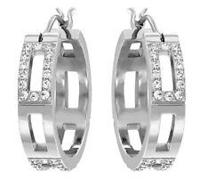 Swarovski Cubist Hoop Pierced Earrings Rhodium-plated Clear crystal MIB 5119322