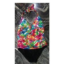 Womens Multicolor Size 12 US Chaps One Piece Swimsuit