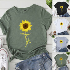 Women Sunflowers Heifer Cow Tee Casual Graphics Blouse Trendy Top Gray T-Shirt
