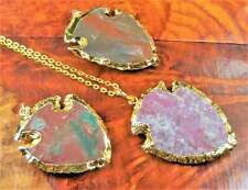 Large Arrowhead Necklace - Carved Jasper Gemstone Pendant - Gold Plated (BB14)