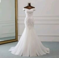 UK Ivory 3D Lace Off Shoulder Mermaid Simple Beach Wedding Dresses Size 6-18