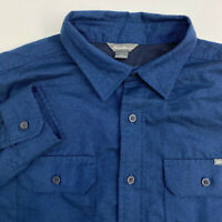 Eddie Bauer Button Up Shirt Mens Large Blue Brushed Polyester Long Sleeve Casual
