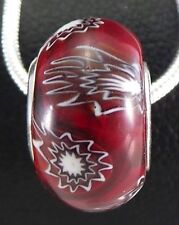925 Solid Sterling Silver Wildflowers Red Murano Glass Bead Core European Style